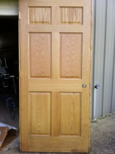 "New, never installed 36"" oak door. Jambs have water damage at bottom. $ 45.00"